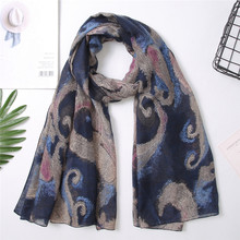 Spring Winter Scarf Women Paris Yarn Shawl Voile Printed Warm Scarves Ladies Shawl Beach Towel Scarves boho foulard sjaals A40(China)