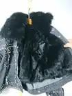 Новинка 2019 года; зимняя короткая джинсовая куртка в Корейском стиле, украшенная бусинами и заклепками, с отстегивающимся воротником из лись... - 6