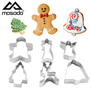 6pcs/set Cookie Cutter Christmas Tree Deer Gingerbread Biscuit Mold Stainless Steel Pastry Cake Holiday Baking Decorating Tools