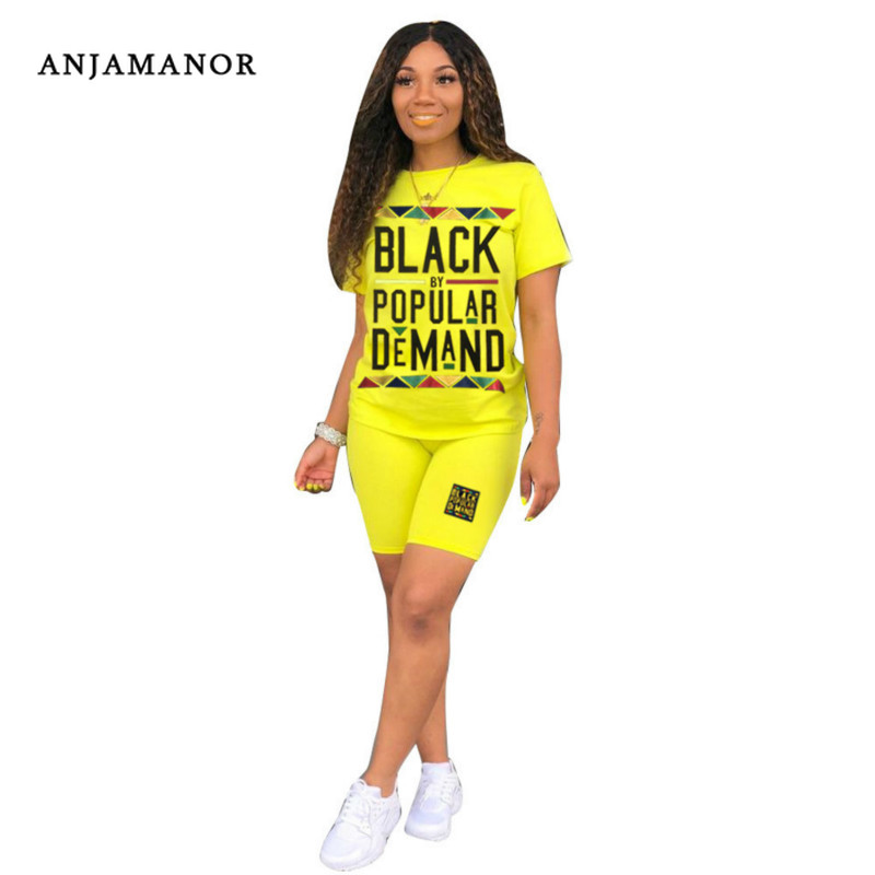 ANJAMANOR Letter Neon Casual Two Piece Set Tracksuit 2 Piece Holiday Outfits For Women Biker Shorts Matching Sets D64-AD44
