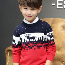 Christmas-Sweaters Knit Boys Double-Thicken Long-Sleeve Print Kids Cotton Children