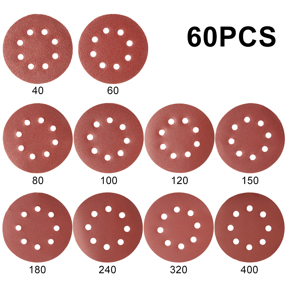 60pcs 5 Inch 125mm Round Sandpaper Eight Hole Disk Sand Sheets Grit 40-400 Hook And Loop Sanding Disc Polish