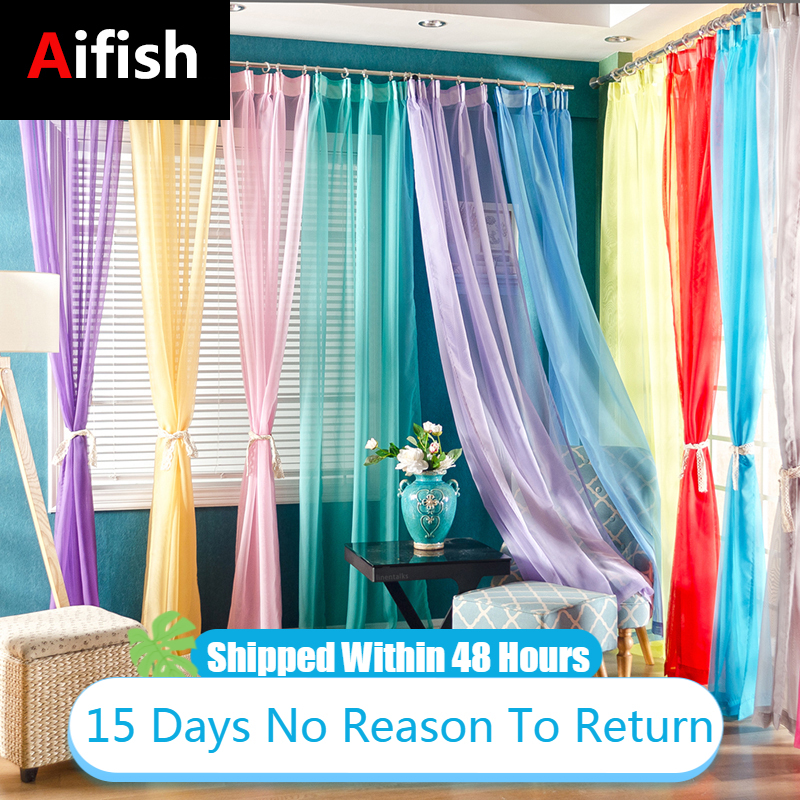 Rideau European American Tulle Curtains For Living Room Window Screening Solid Door Drape Wedding Party Decoration Panel Sheers