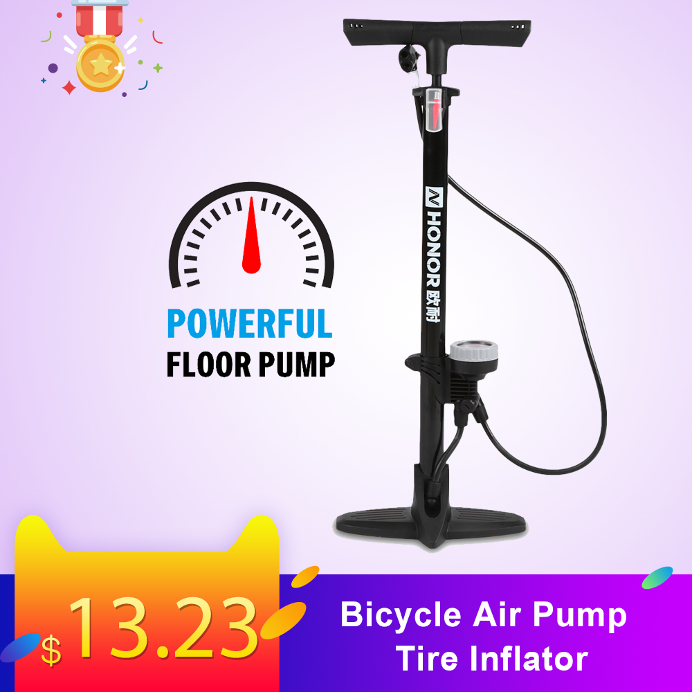 Bicycle Air Pump Tire Inflator With Barometer Floor Type Riding Bike High-pressure Pump Cycling Accessories