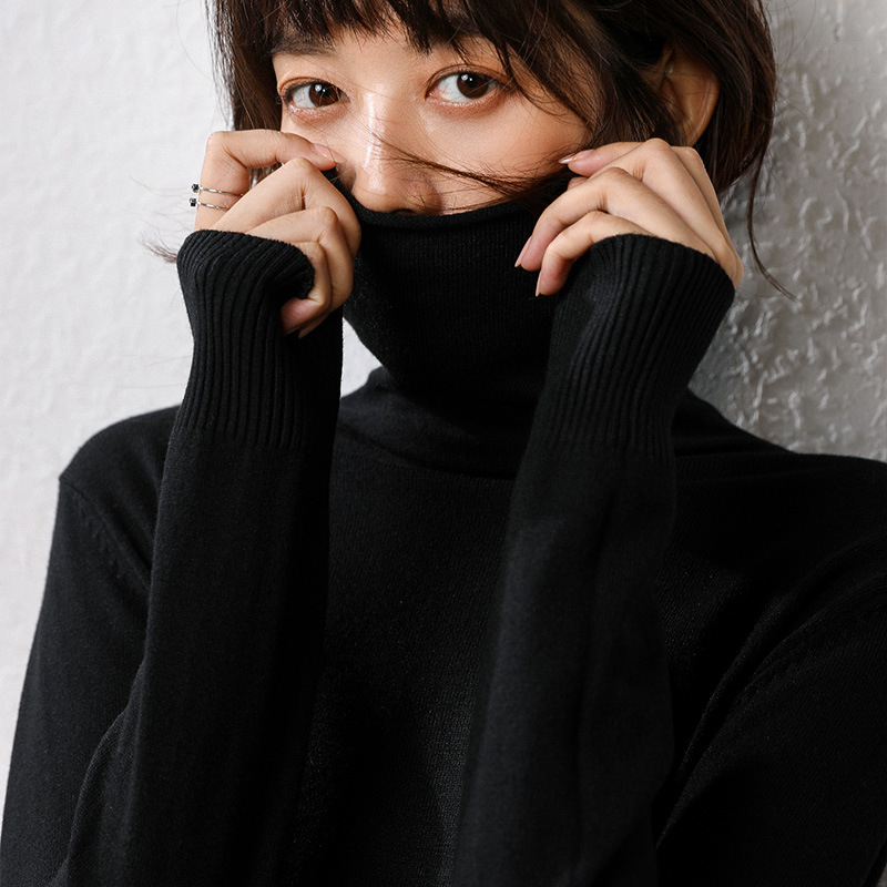 Autumn winter women's knitted sweater bottoming Korean version solid color pullover sweater long-sleeved knit turtleneck sweater