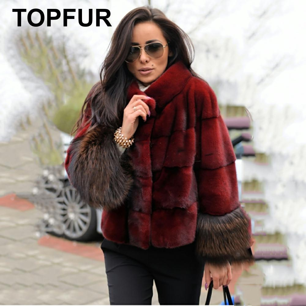 TOPFUR 2019 Fashion Wine Red Coat Women Short Jacket Real Fur Coat With Fur Collar Natural Mink Fur Full Sleeves With Fox Fur