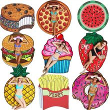 New Donut Pizza Beach Mat Round Mandala Towel Travel Shawl Blanket Sarong Beach Cover Wrap Bandana Round Summer Beach Blanket