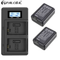 PALO 2 stücke 2000mAh NP-FW50 NP FW50 Kamera Batterie + LCD USB Dual Ladegerät für Sony Alpha a6500 a6300 a6000 a5000 a3000 NEX-3 a7R