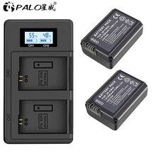 цена на PALO 2pcs 2000mAh NP-FW50 NP FW50 Camera Battery + LCD USB Dual Charger for Sony Alpha a6500 a6300 a6000 a5000 a3000 NEX-3 a7R