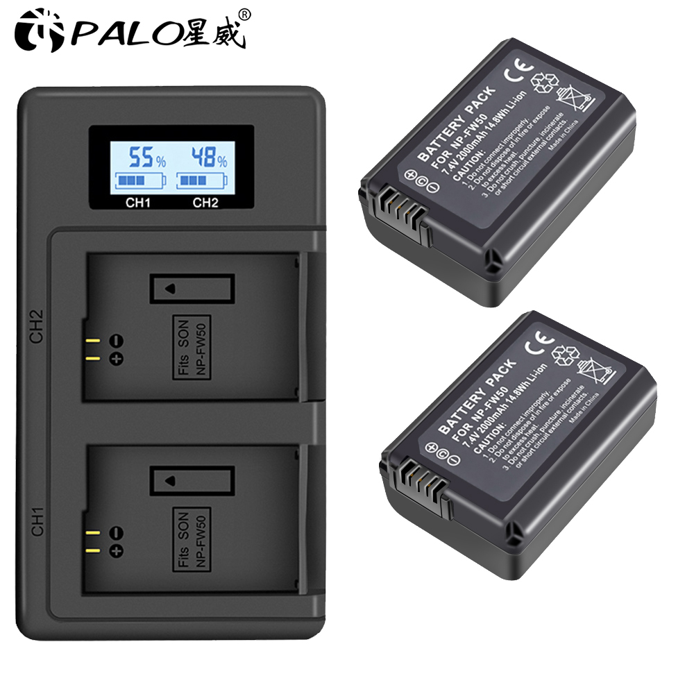 PALO 2pcs 2000mAh NP-FW50 NP FW50 Camera <font><b>Battery</b></font> + LCD USB Dual Charger for <font><b>Sony</b></font> <font><b>Alpha</b></font> a6500 a6300 a6000 <font><b>a5000</b></font> a3000 NEX-3 a7R image