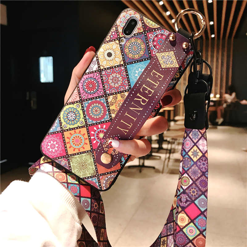 Fashion Vintage Neck Lanyard Wristband Holder Case for Samsung S20 Ultra A71 A51 S8 S9 S10 S20 Plus Note 9 8 10 A10 A50 A70 A30