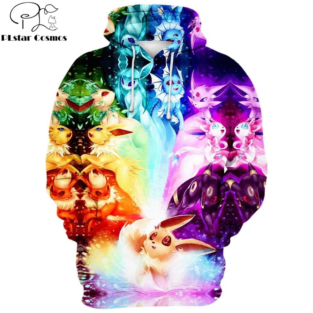 2020 New 3D Fashion Men Hoodies cartoon character Cute Pikachu Full Printed Pullover / Hoodie Sweatshirt Unisex Streetwear