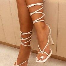 Thong Sandals Design Shoes Cross-Strap Square Toe High-Heels Vintage Women Band Narrow