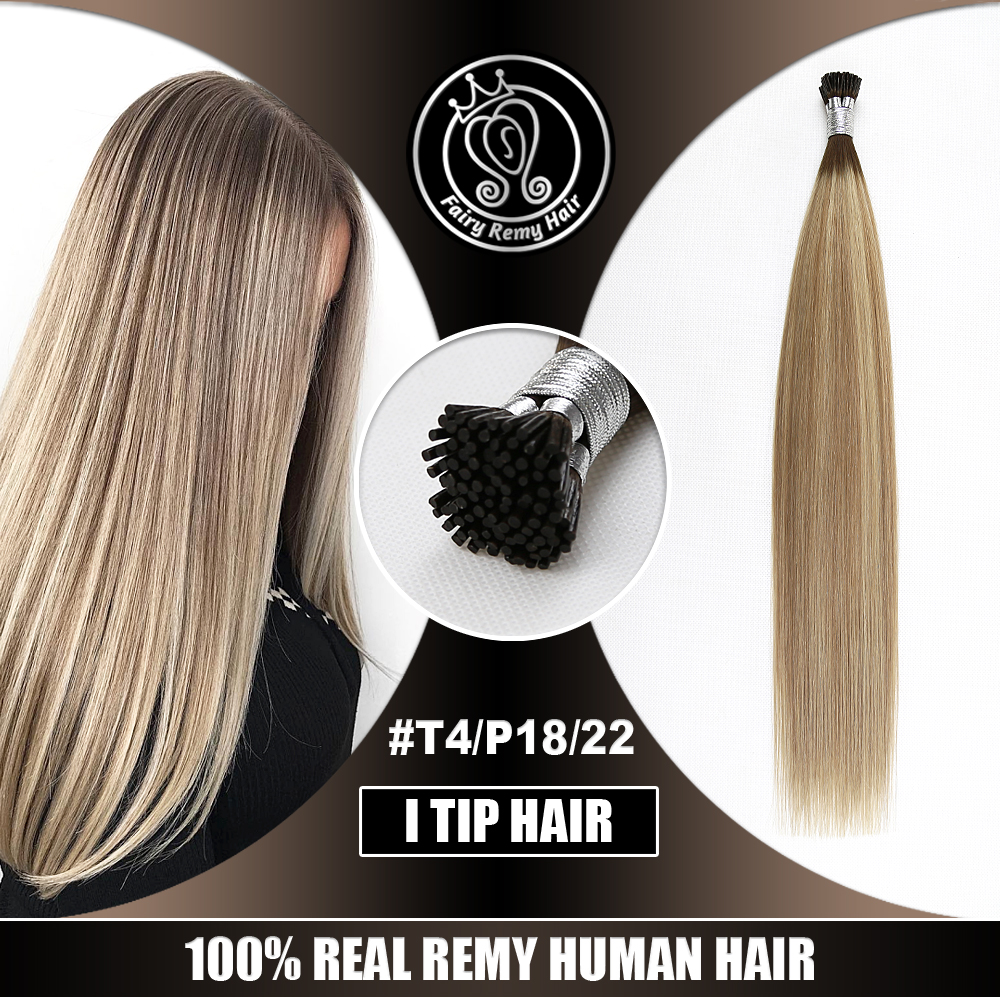 I Tip Prebonded Hair Extension Keratin 100% Remy Human Hair Balayage Highlight Color 16-22 Inch 0.8g/s 40g/pack Fairy Remy Hair