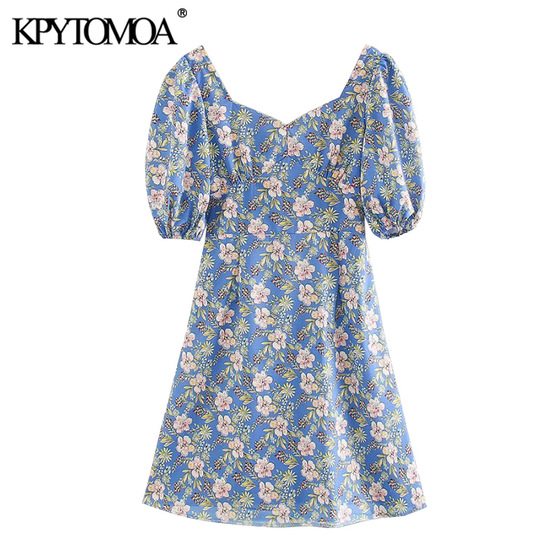 KPYTOMOA Women 2020 Chic Fashion Floral Print Mini Dress Vintage Backless Zipper Puff Sleeves Female Dresses Vestidos Mujer