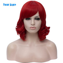 Your Style 7 Colors Your Style Synthetic Cosplay Wigs With Bangs Black White Red Blue Purple Green Pink High Temperature Fiber tanie tanio Short Wavy Average Size Synthetic Wig Red Green Blue Black White Grey Short Wavy BOB Wig Synthetic Heat Resistant Fiber High Temperature Fiber