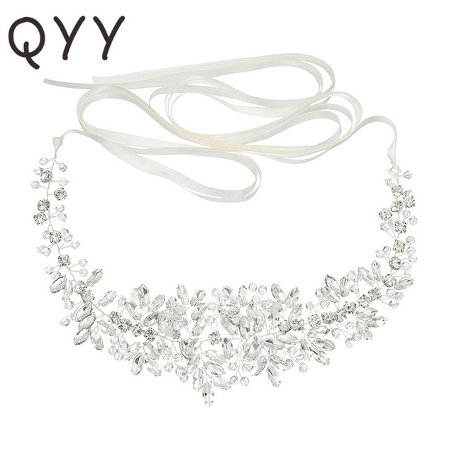 Bridal Satin Belts Crystal Beads Silver Color Wedding Accessories Decoration Prom Dress Belt Ivory White Strass Bride Sash Gifts
