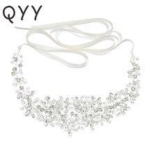Cinto de cetim para noiva, cinto de miçangas de cristal prata para acessórios de casamento, decoração, baile, marfim, branco, de noiva
