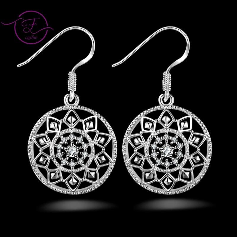 925 Sterling Silver Cubic Zirconia Mandala Shape Earrings Statement Drop Earrings Women Jewelry