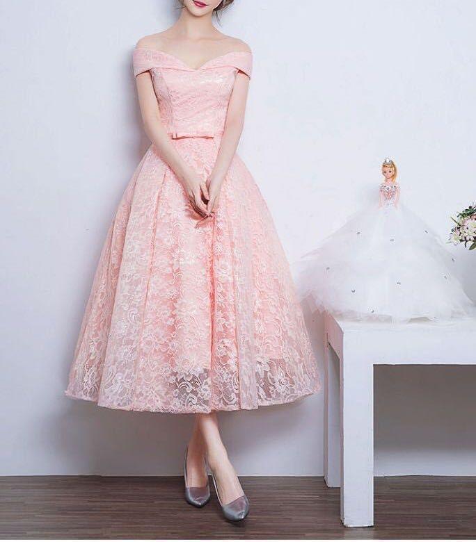 A-line V Neck Off Shoulder Lace Knee-length Lace Bridesmaid Dress