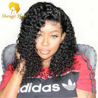 Short Curly Bob Wig Brazilian Full Lace Human Hair Wigs For Black Women Glueless Full Lace Wigs With Baby Hair 150% Density Shengji Remy Hair Wig Pre Plucked Hairline Bleached Knots