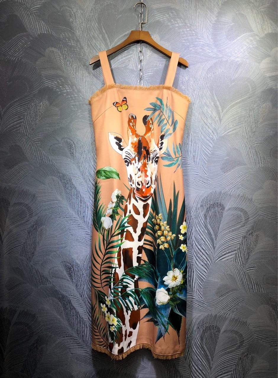 2020 Summer runways fashion print tassels slip dress Chic women high quality elegant dress B311