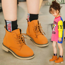 2019 Autumn New Fashion Children Single Boots Male Girl Shoe Soild Student Non-slip Short Child Martin