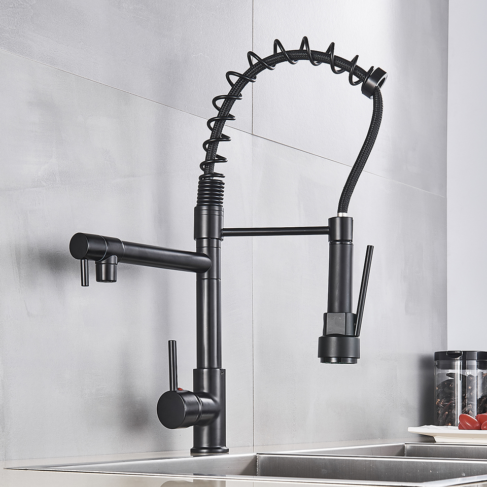 H073efeaf954c481e95a34c7b60d8aaa1W Uythner Black Brass Kitchen Faucet Vessel Sink Mixer Tap Spring Dual Swivel Spouts Hot and Cold Water Mixer Tap Bathroom Faucets