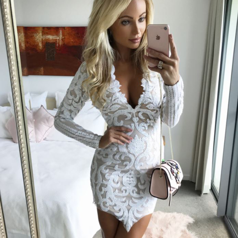 MIOFAR New Long Sleeve Lace Dress Sexy V-neck Tight Style Women Mini Party Dresses Robe Autumn Fashion Vintage Sequin Dresses image