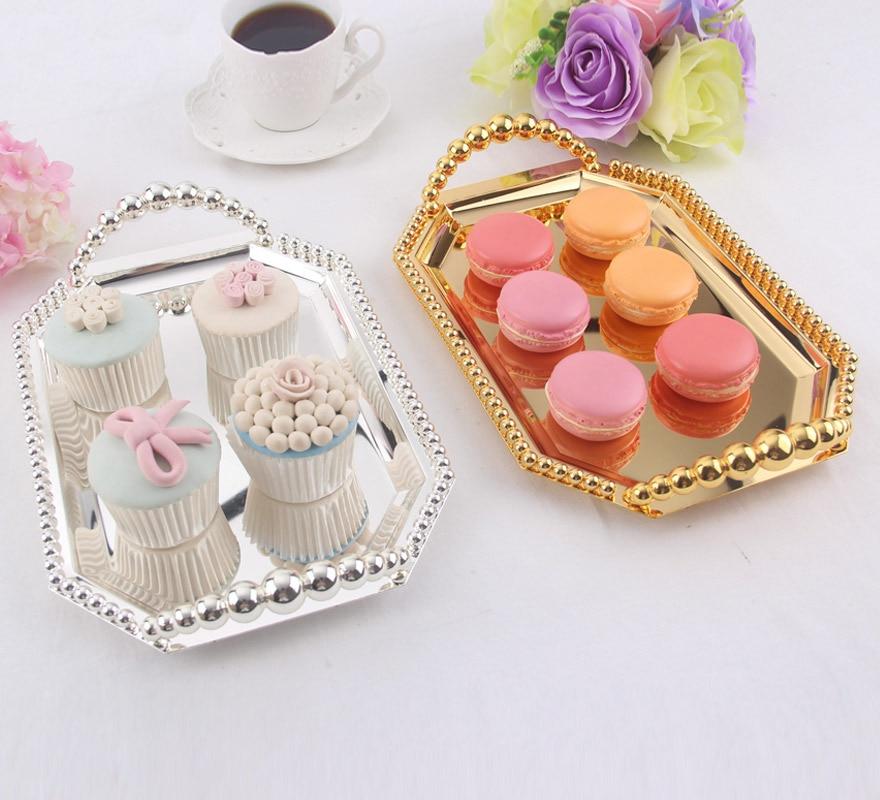 Plat à bonbons en métal européen Snacks | Plateau à fruits, perle plaquée argent, plateau carré poêle à gâteaux, plats de service pour la cuisson fournitures de mariage