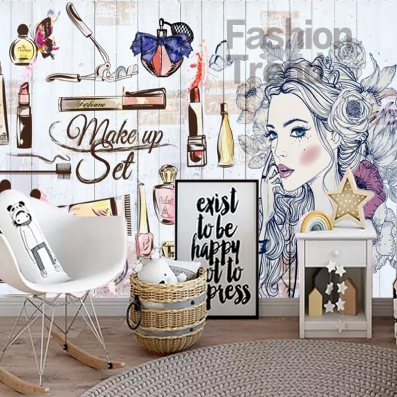 Мода ногтей салоны обои салон красоты обои косметика магазин стены макияж Магазин лак для ногтей акварель 3D Фреска