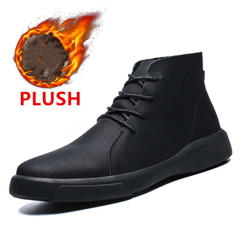 Brand New Winter Men Snow Boots Fashion Lace up Ankle Boots Genuine Leather Warm Plush