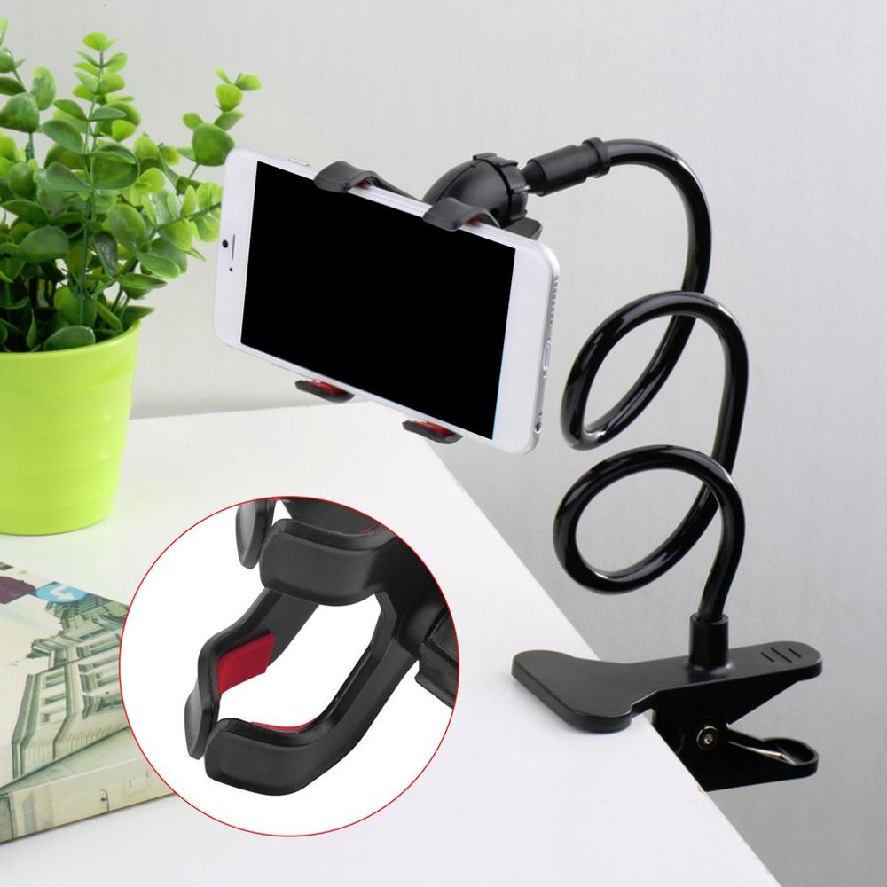 Universal Lazy Mobile Phone Gooseneck Stand For Cell Phone 360 Degree Bed Desk Table Clip Bracket For Phone Flexible Holder