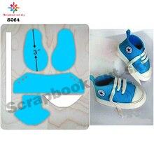 Sapatos do bebê muyu corte die forma de madeira molde de corte para scrapbooking s064