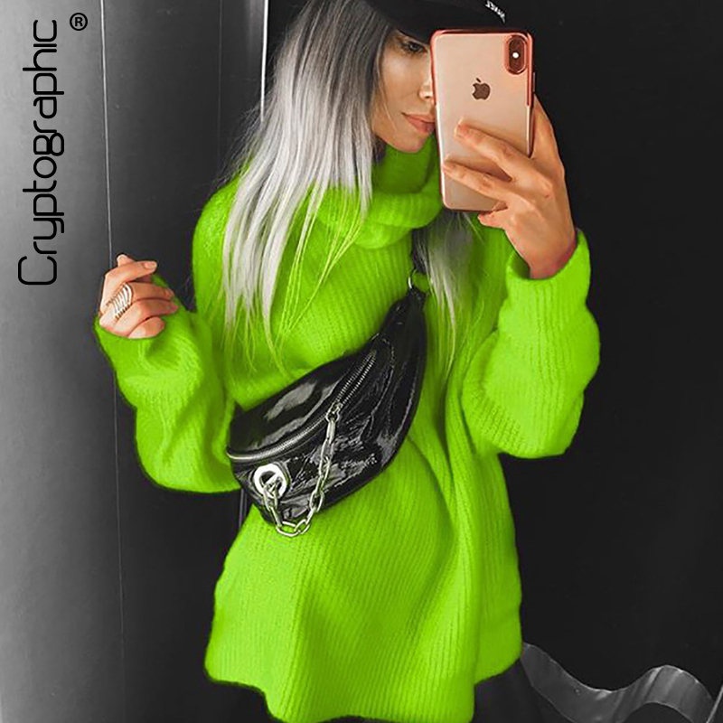 Cryptographic Turtlenecks Sweaters For Female Loose Long Sleeve Knitted Pullovers Winter Autumn Oversized Long Sweaters Hot Pink