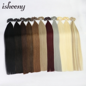 "Image 2 - Isheeny 50pc Fusion Nail/U Tip Hair Extensions 14"" 18"" 22"" Remy Keratin European Human Hair On Capsule"