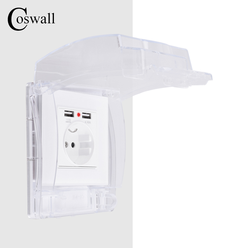 Coswall IP55 Waterproof Dust-proof Transparent Box + White Glass Wall Panel EU Standard Socket With Dual USB Charging Port