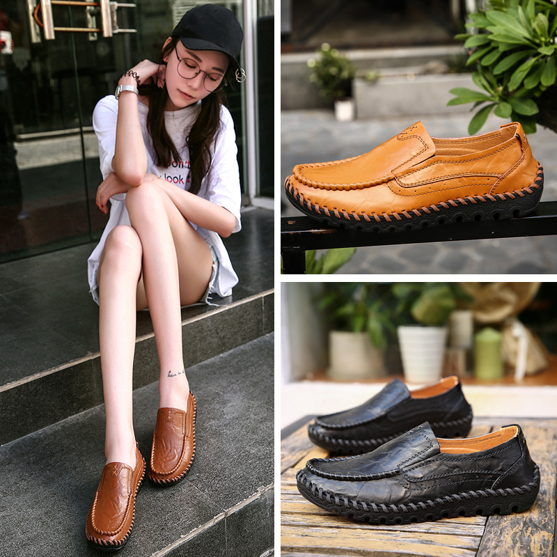 2019 Spring New Style Soft-Sole Comfortable Mom Shoes Handmade Casual Leather Shoes Women's Flat Shoe Middle-aged