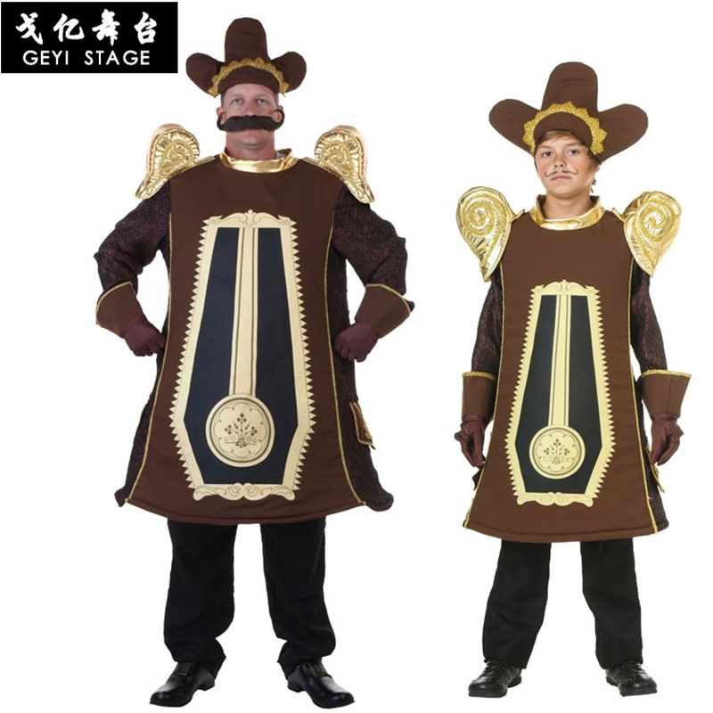 Halloween Kids Adults Men Boy Alarm Clock Cosplay Clothes Stage Beauty and the Beast Performance Props Alarm clock Costumes