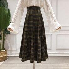 Medieval Skirt Dark-Brown Vintage Plaid Woolen High-Waist Fashion Women Retro Casual