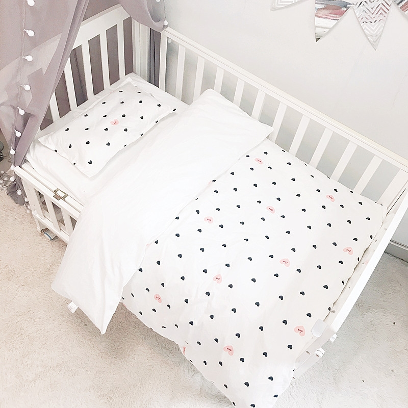 3pcs/set All Cotton Baby Bedding Set Newborns Crib Bedding Baby Boys Girls Bed Linens Kit Quilt Cover Fitted Sheet Pillowcase