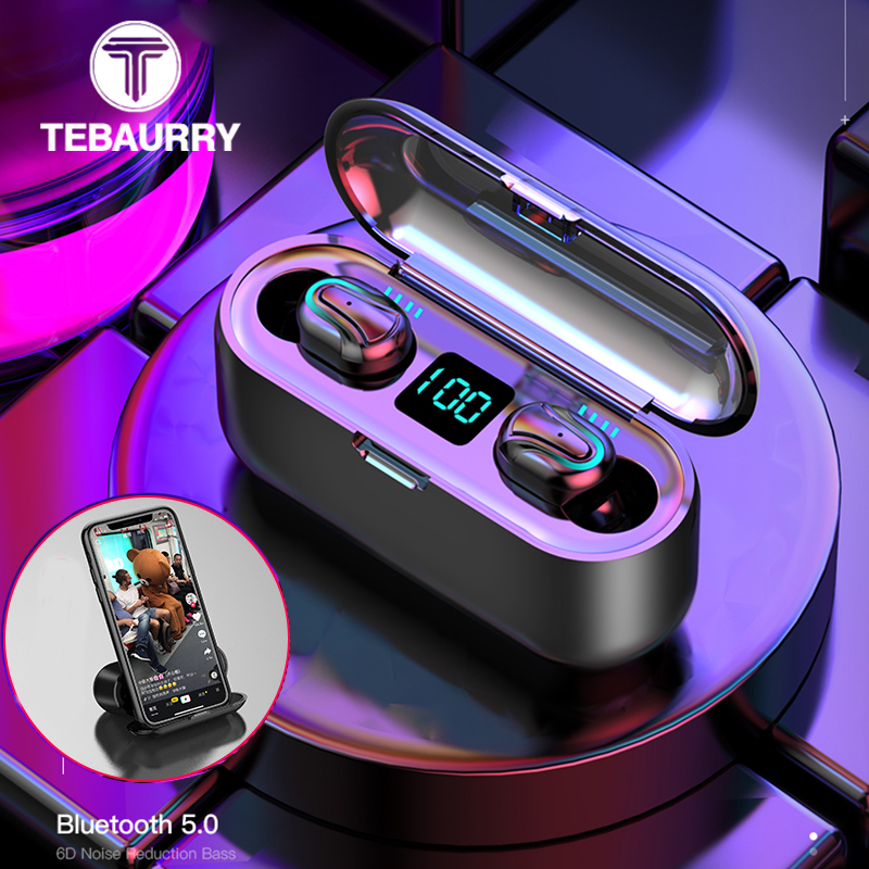 2000 MAh TWS Bluetooth Earphone 5.0 Wireless Headphones Stereo Mini Wireless Earphones With Mic LED Power Display  Power Bank