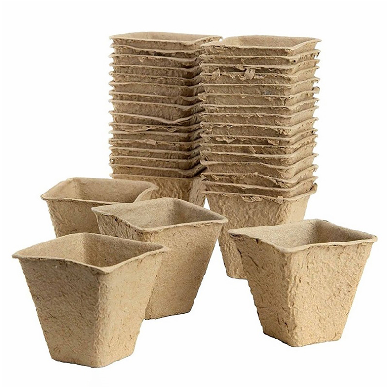 50 Pcs Flower Seedlings Nursery Cup Paper Square Planter Pot Paper Pot Starters Seedling Herb Seed Cultivation Garden Supplies