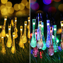 Rantion 30/100 LED Solar String Lights Waterproof Raindrop String Fairy Lights for Patio Garden Party Lawn Holiday Decorations