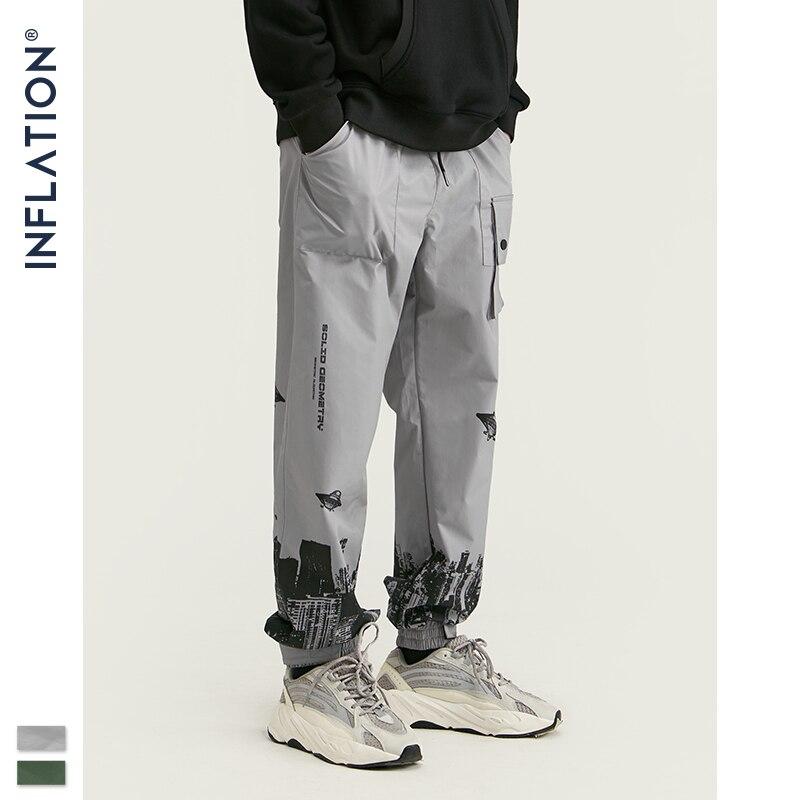 INFLATION Fashion Digital Print Sweatpants Men 2020 FW Streetwear Drawstring Joggers Harajuku Pockets Loose Men Trousers 93444W