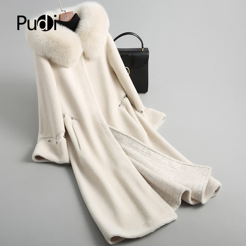PUDI Fur Coat Jacket Real-Fox-Fur-Collar Female Winter Women's Warm Wool with Lady A18113