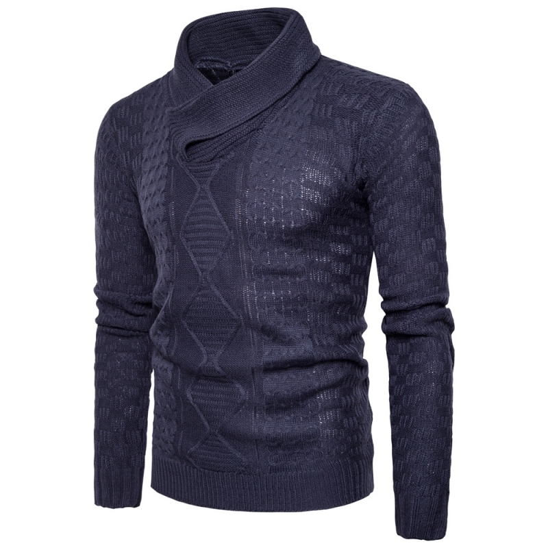 Hot Sale 2020 New Fashion Mens Long Sleeve Pullovers Casual Sweaters Male Coarse Wool Heap Collar Solid Sweater Black Deep Gray