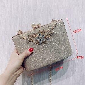 Image 2 - ZD1422 sac à main argenté de soirée pour femmes, pochette de luxe de styliste, sacoche à épaule en cristal Vintage, bourse de mariage