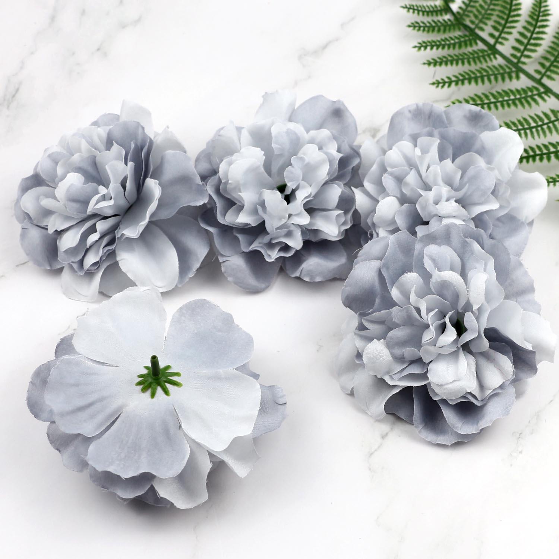 Lulang pacote com 5 grandes flores artificiais cinza, flor de margarida falsa para decorações de casamento 4.3
