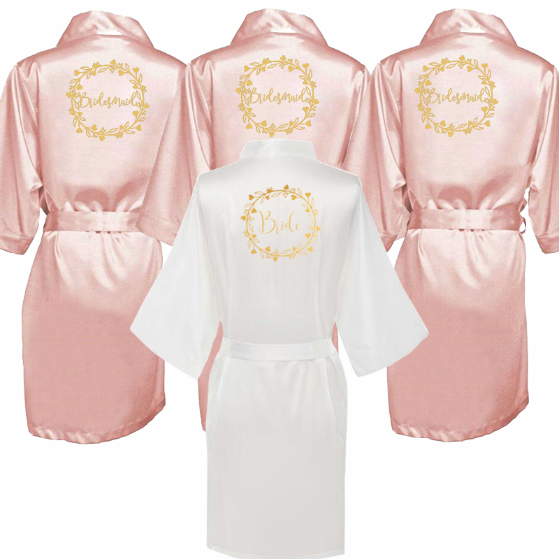 Women Bathrobe Letter Bride Bridesmaid Mother Of The Bride Maid Of Honor Get Ready Robes Bridal Party Gifts Dressing Gowns